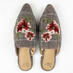 Plaid Floral Embroidered Mules A New Day V756